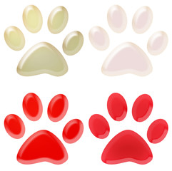 set of red and white pet paws 3d illustration