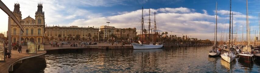 View of a boardwalk near yacht port in Barcelona