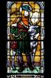 Glasfenster Hubertus Jagd mit Hirsch