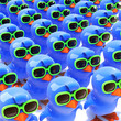 Army of bluebirds in green sunglasses