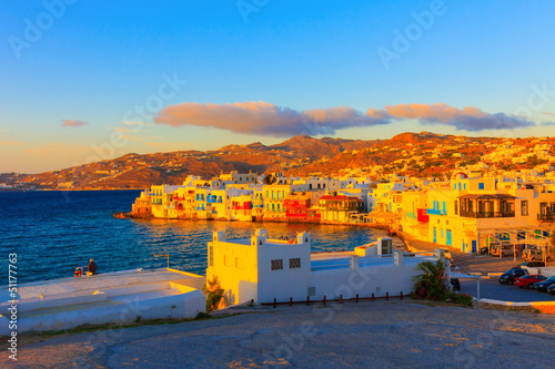 Greece Mykonos, Sunset on Little venice