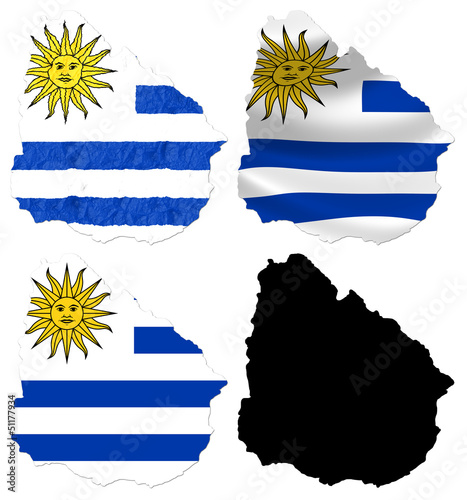 Uruguay flag over map collage