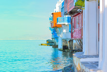 Grecja, zbliżenie na Kapitol Little Venice Mykonos