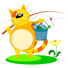 cat with a fishing rod and fish