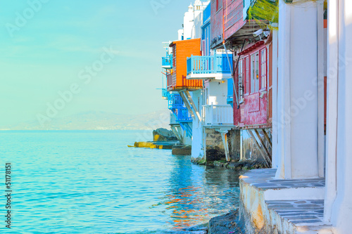 Greece, closeup on little Venice Mykonos capitol