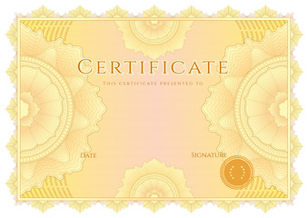 Certificate / Diploma template. Guilloche pattern on background