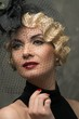 Elegant blond retro woman  with red lipstick