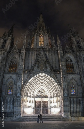 Cathedral of the Holy Cross and Saint Eulalia at night