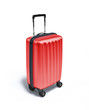 Red Travel suitcase on wheels, on white background.