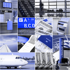 Air travel collage in duo color