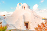 Whitewashed church in Mykonos Island Cyclades Greece