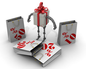Самоходная подарочная коробка выбирает пакет скидок