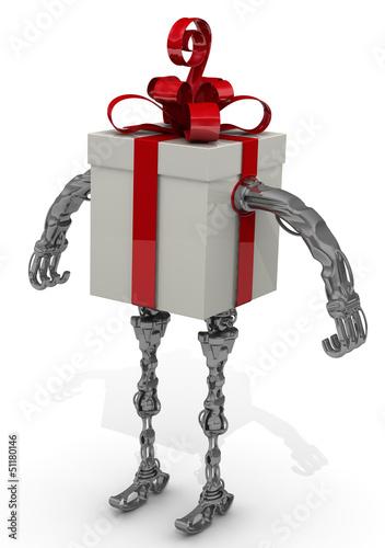 Самоходная подарочная коробка с красным бантом на белом фоне