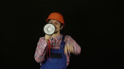 Builder shouting into a megaphone
