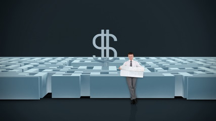 Businessman with Map in a Maze with USD Symbol