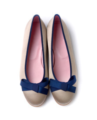 Blue bow pearl grey ballerinas