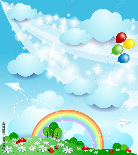 Staande foto Magische wereld Spring landscape, fantasy illustration
