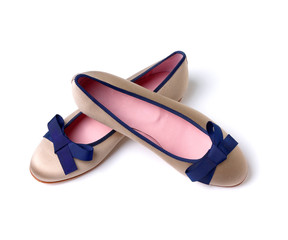 Blue bow pearl grey ballerinas mounted