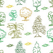 trees hand draw seamless pattern