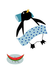 昼寝するペンギン