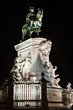 Statue of King Jose I in Commerce square of Lisboa at night