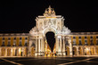 Rue Augusta arch in Commerce square at night. Lisbon
