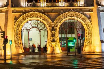Rossio train station, main entrance at night. Lisbon, Portugal