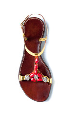 Red coral strass golden leather flip flop sandal