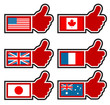 Thumbs Up Icons Representing World Flags