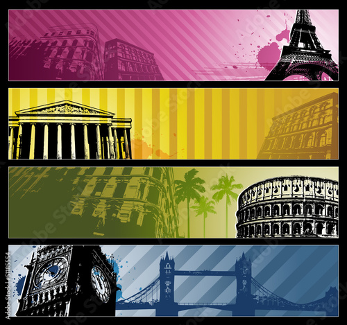 Europe cities Horizontal travel banners eps 10