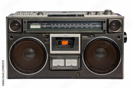 Vintage radio cassette recorder, isolated on white