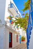 Greece, narrow streets view in Mykonos capitol