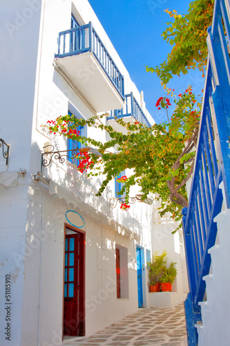 Fototapety, obrazy : Greece, narrow streets view in Mykonos capitol
