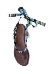 Striped satin ankle wrap leather flip flop sandal