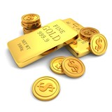3d golden bars and dollar coins on white