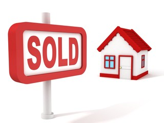 Sold House Real Estate Concept Red Sign