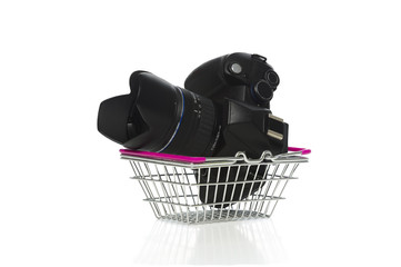 Camera and lens in a shopping basket
