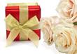 Festive gift bos isolated on white background