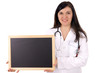 young doctor with stethoscope and empty sign
