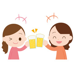 生ビールで乾杯 女の子2人