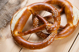 Freshly baked pretzels or brezels, close-up
