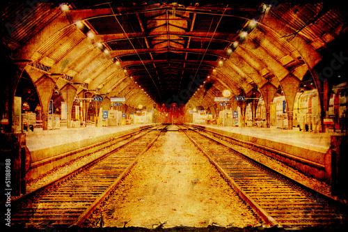 Staande foto Vintage Poster Retroplakat - Bahnhof
