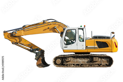 Construction digger scoop isolated against a white background