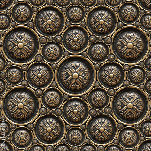 Brass Background with Classic Ornament