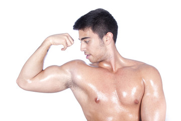 Body builder boy isolated on white background