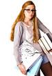 Erschöpfte, junge Studentin mit Büchern und Ordnern