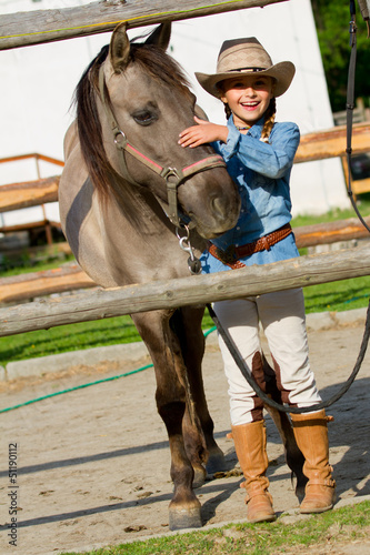 Ranch, horse - lovely girl with horse