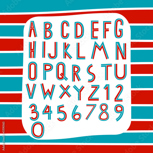 two tone alphabet on stripe red and blue background