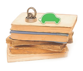 bearings with small car on pile books