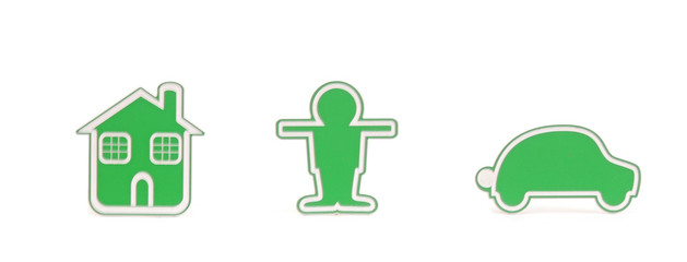 Green small person with house and car on white background